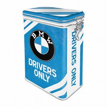 BMW drivers only clip box voorraad blik  18 x 11 x 7cm