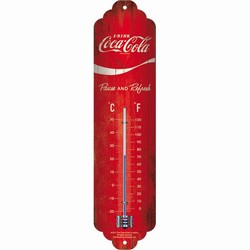 Thermometer Coca cola rood pause and refresh 30 x 6,5 cm