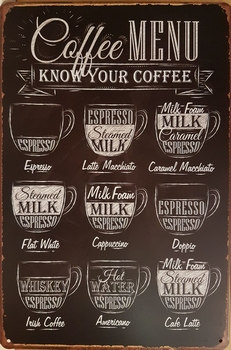 Coffee menu zwart wit metalen bord<br />30 x 20 cm