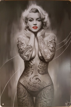 Mailyn Monroe zwart wit tattoos reclamebord  30 x 20 cm