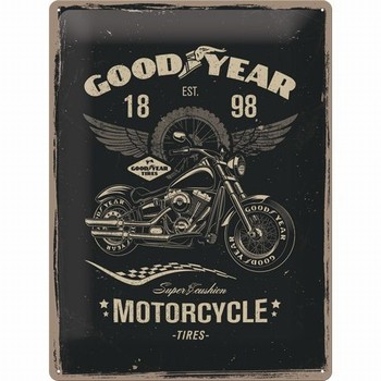 Goodyear motorcycle tires metalen relief bord<br />40 x 30 cm