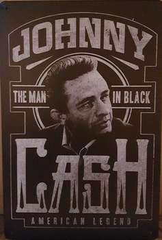 Johny cash man in black metalen wandbord