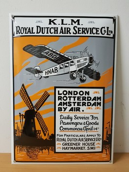 KLM Royal dutch air service emaille reclamebord50x35 €<br />50 x 35 cm