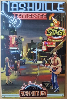 Nashville Tennessee music city USA metalen reclamebord  30 x 20 cm