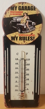 My garage my rules pin up thermometer metaal<br />28x10cm
