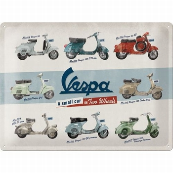 Vespa a small car on two wheels collage relief reclamebord