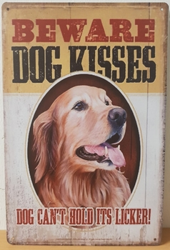 Beware dog kisses golden retriever metalen wandbord