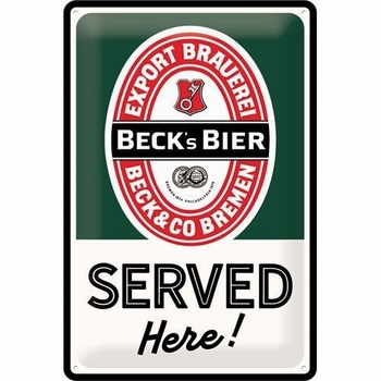 Becks bier served here metalen relief reclamebord