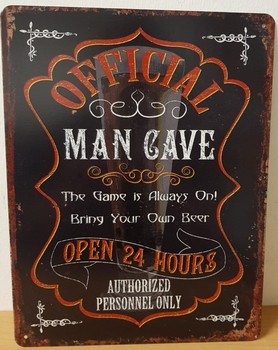 Official man cave metalen wandbord