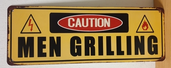 Caution men grilling metalen wandbord