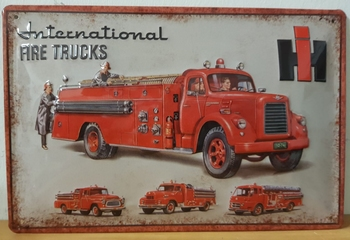 International fire trucks collage  reclamebord metaal
