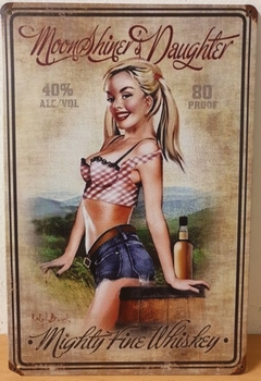 Moonshine whiskey pinup reclamebord metaal
