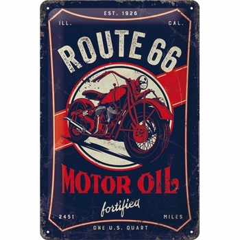 Route 66 motor oil metalen relief reclamebord