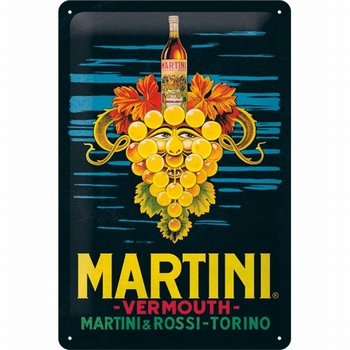 Martini vermouth grapes metalen reclamebord relief