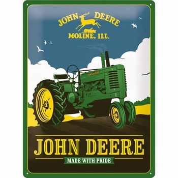 John Deere made with pride metalen wandbord relief