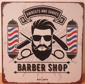 Barber shop metalen wandbord