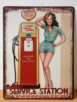 Service station rode pomp pin up metalen wandbord