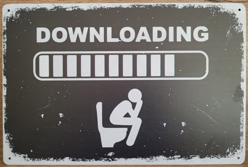 Downloading WC Toilet reclamebord van metaal
