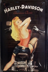 Harley Davidson Pin up reliëf