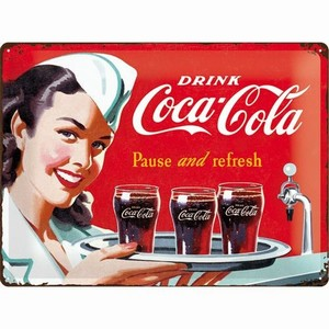 Coca cola pause and refresh dienblad relief<br />40 x 30 cm