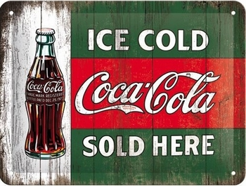 coca cola ice cold sold here metalen bord<br />20 x 15 cm