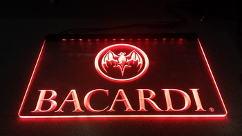 Bacardi tekst led lamp rode led<br />30 x 20 cm
