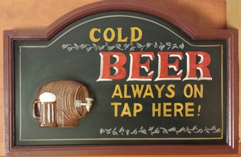 Cold beer always on tap pubbord<br />60 x 40 cm