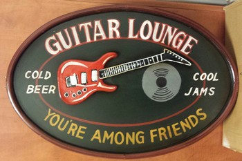 Guitar lounge among friends pubbord<br />60 x 40 cm