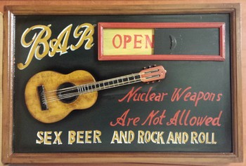 Bar open  closed sex beer rock n roll pubbord<br />60 x 40 cm