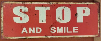 Stop and smile metalen wandbord
