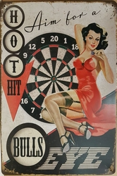 Bulls eye darts pin up metalen wandbord
