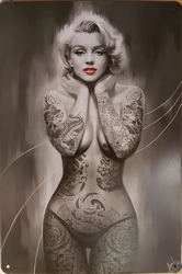 Mailyn Monroe zwart wit tattoos reclamebord