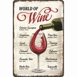 World of wine metalen wandbord relief