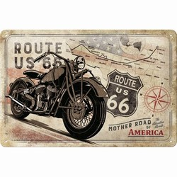 Route 66 Bike map metalen reclamebord relief