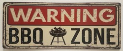 warning bbq zone metalen bord
