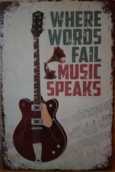 Music speaks gitaar metalen wandbord