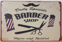 Barber shop kappers metalen wandbord reclamebord barber