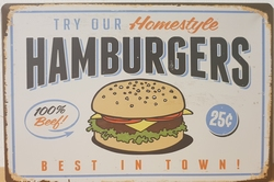 Hamburgers best in town metalen reclamebord cafe bar