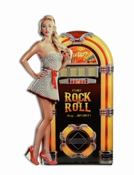 Rock n roll jukebox pin up metalen relief wandbord wurlitzer