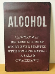 Alcohol story eating saled metalen wandbord