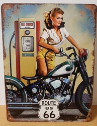 Route 66 pin up motor metalen wandbord