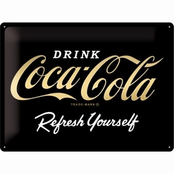 Coca cola logo black gold metallic edition relief re
