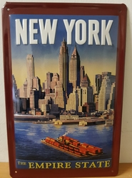 New york empire state metalen reclamebord  RELIEF