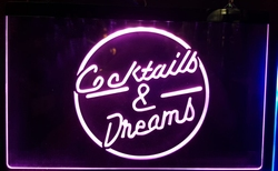 Cocktails en dreams lila led lamp