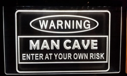 Warning man cave enter at your risk witte led lamp
