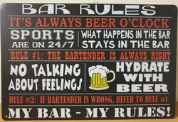 Bar Rules always Beer o clock metalen wandbord