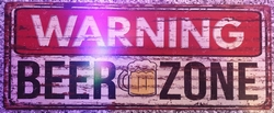 Warning beer zone metalen wandbord