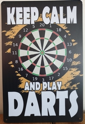 Keep calm and play darts reclamebord metaal