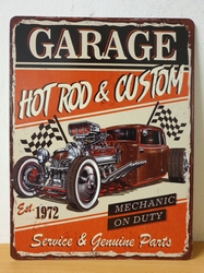 Garage hotrod custom made cars metalen wandbord